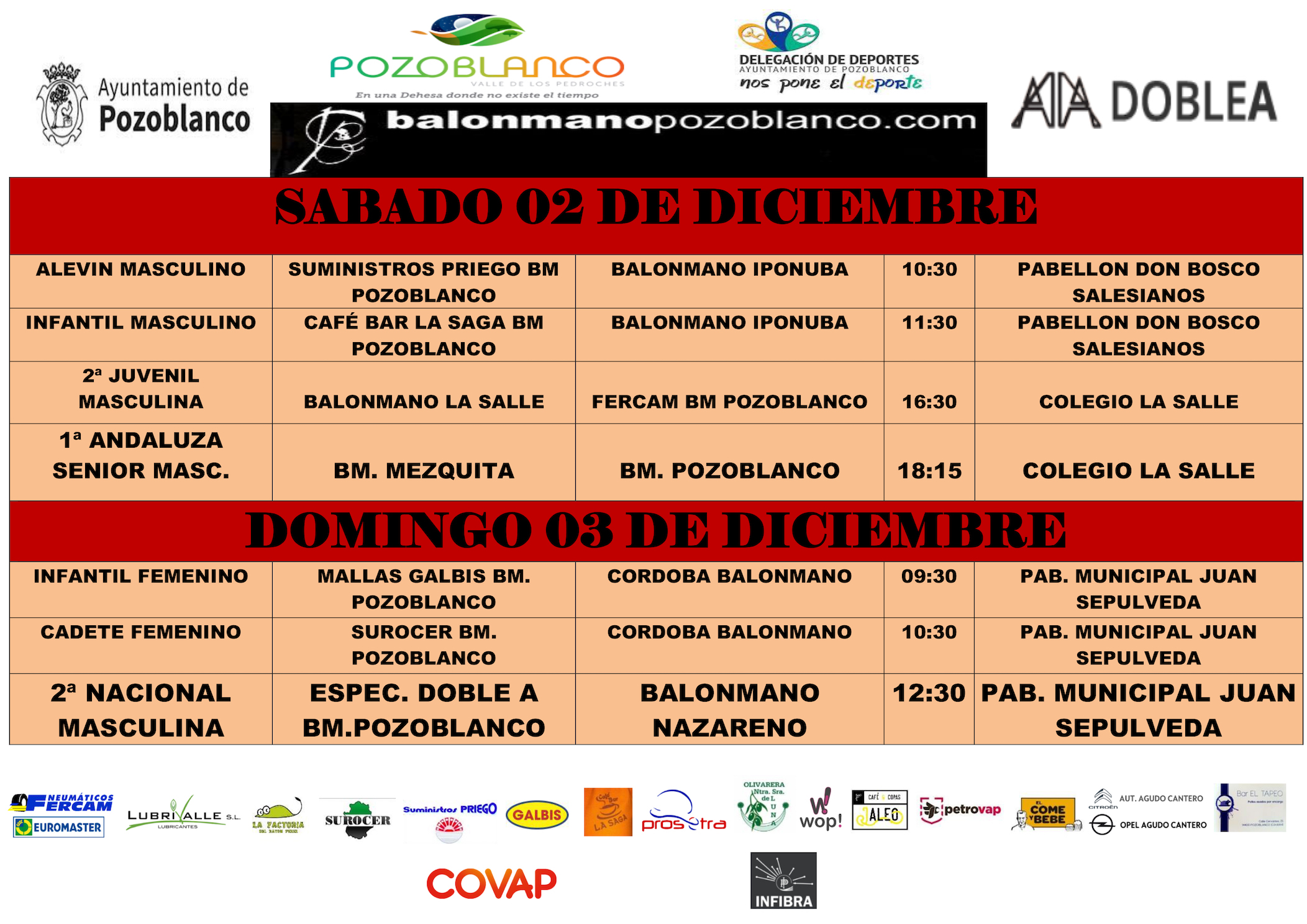 Horarios y enfrentamientos Club Balonmano Pozoblanco - 2 y 3 Diciembre 2017