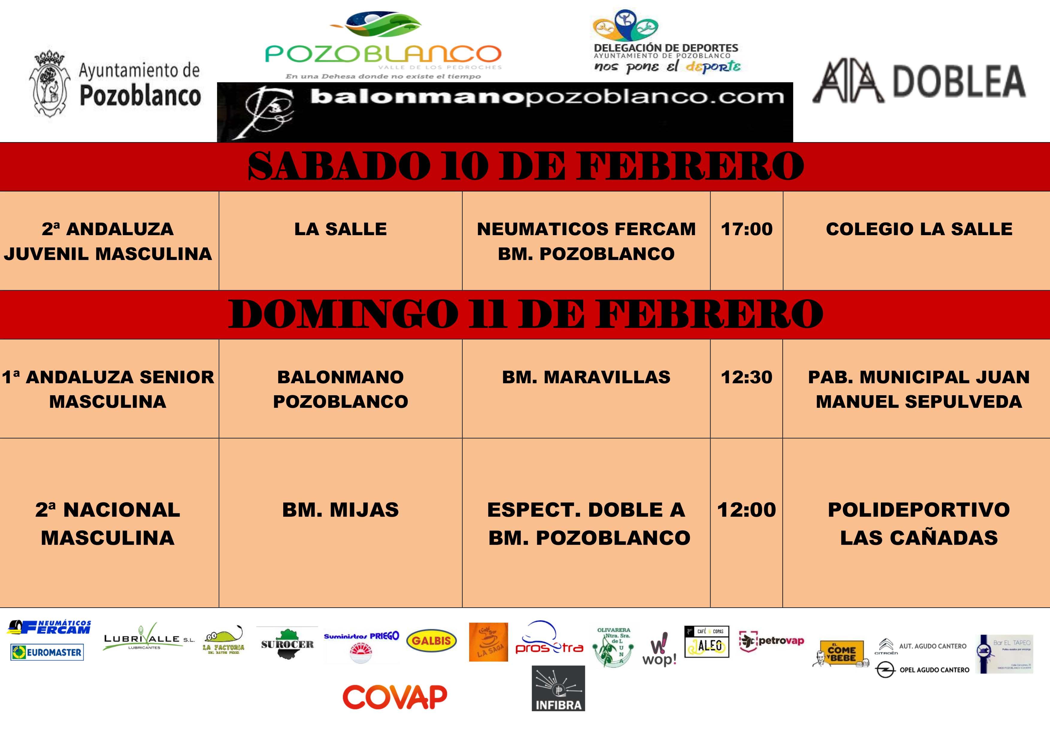 BM Pozoblanco - Partidos del fin de semana - Febrero 2018