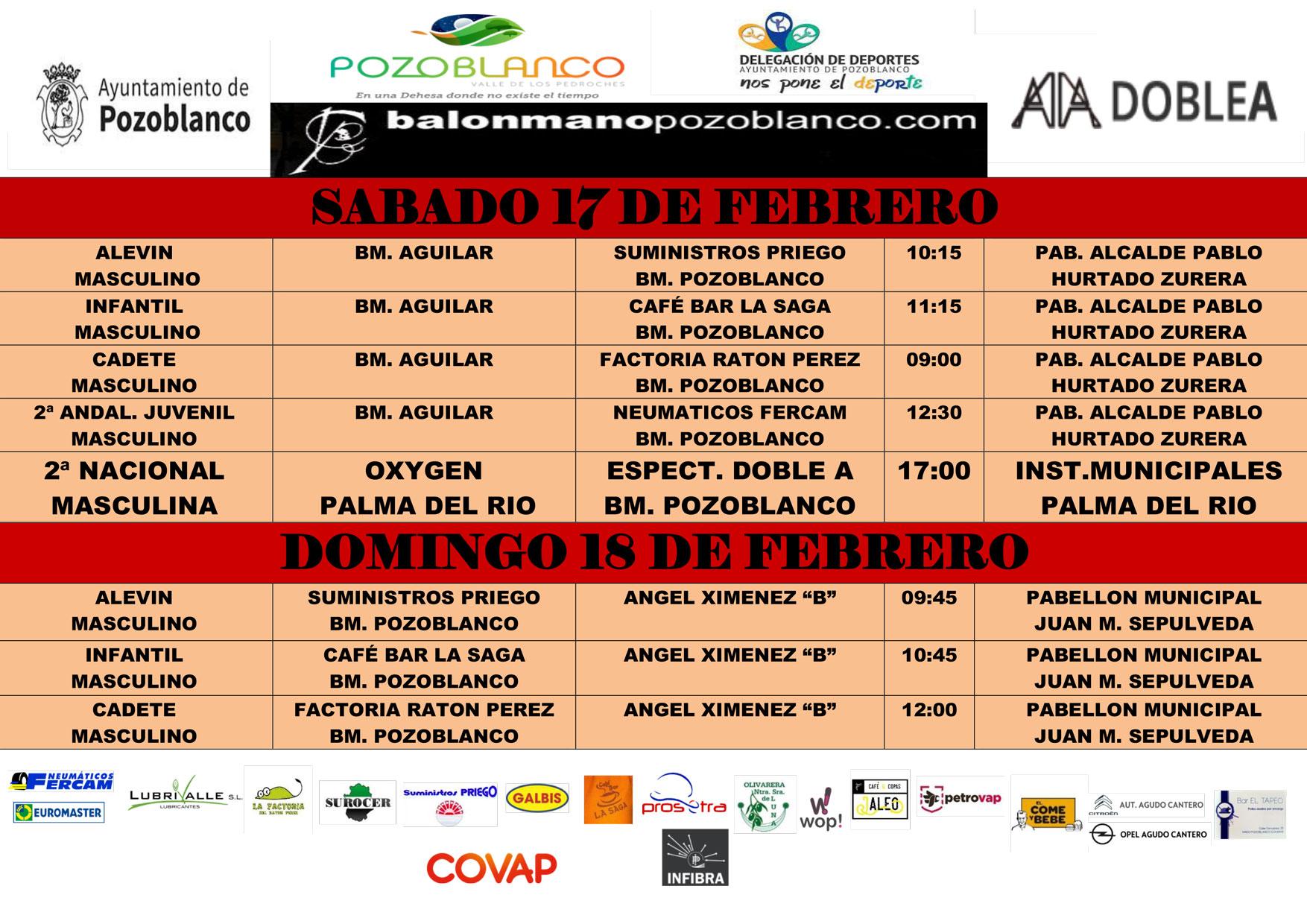 Horarios y enfrentamientos balonmano pozoblanco - Febrero-2018